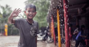 Uno de los niños del proyecto de Camboya.